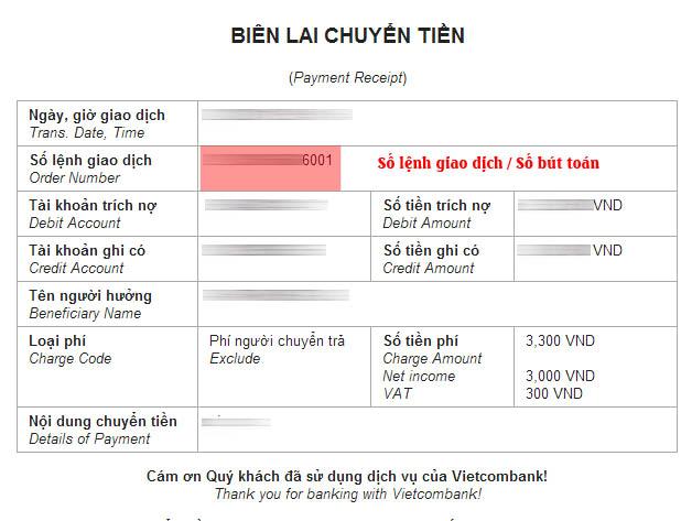 Số lệnh giao dịch ngân hàng